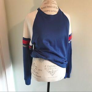 Vintage 80's ringer Sweatshirt blue red stripes